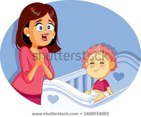 magasról · fotózva · kilátás · újszülött · baba · alszik · otthon - stock fotó © is2