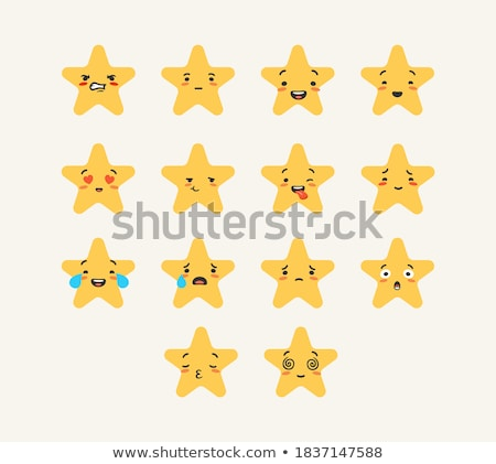 Tristesse jaune star cartoon visage personnage Photo stock © hittoon
