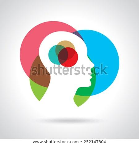 Cerveau verre transparent tête visage fond Photo stock © popaukropa