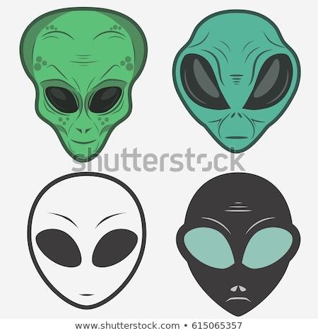 blue alien head cartoon icon vector illustration stock photo © cidepix