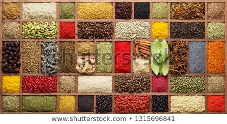 exotisch · specerijen · lepels · houten · plaat - stockfoto © dash