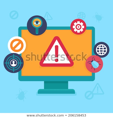 Internet security and spyware warning with detective. Hacking phishing attack.  Computer attack and  stock photo © makyzz