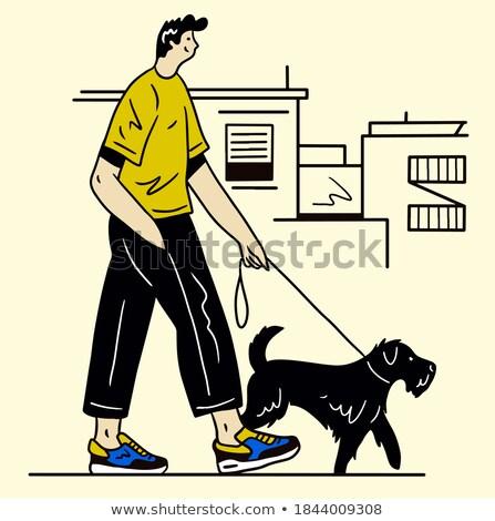 Rajz rottweiler póráz illusztráció sétál száj Stock fotó © cthoman
