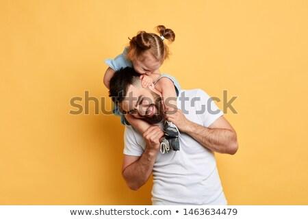 Pai jogar filha isolado juntos família Foto stock © cienpies