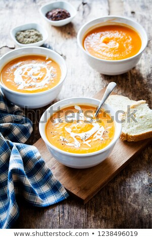 Bowls Of Organic Buttenut Squash Soup Stock photo © mpessaris