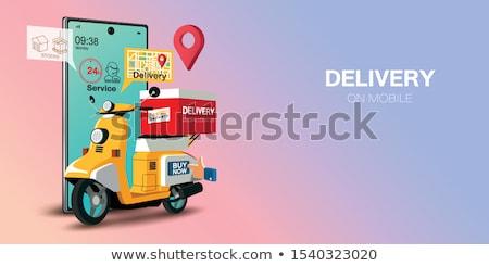online · étel · vektor · kezek · futár · vásárló - stock fotó © rastudio