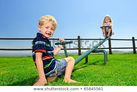2 子供演奏 シーソー 公園 実例 子 ストックフォト © colematt