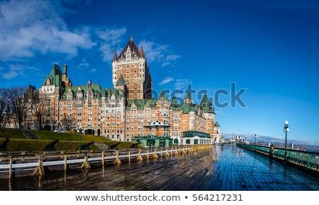 Foto stock: Histórico · Quebec · ciudad · hermosa · nubes · nieve