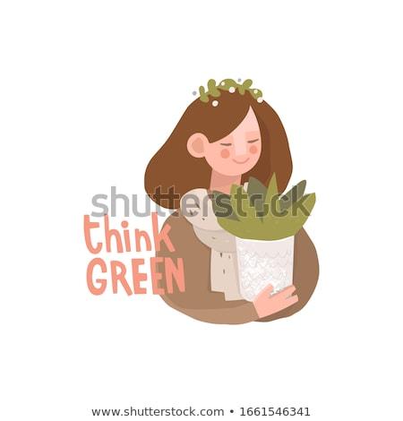 happy woman drawing green recycle symbol Stock photo © dolgachov