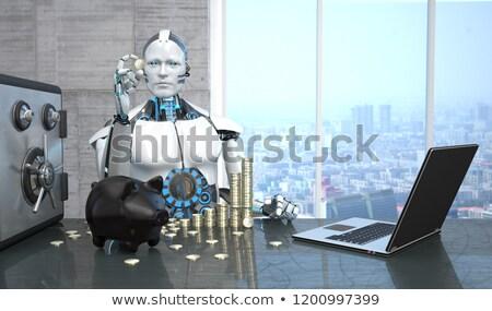 Stock fotó: Robot · persely · Euro · érmék · széf · humanoid