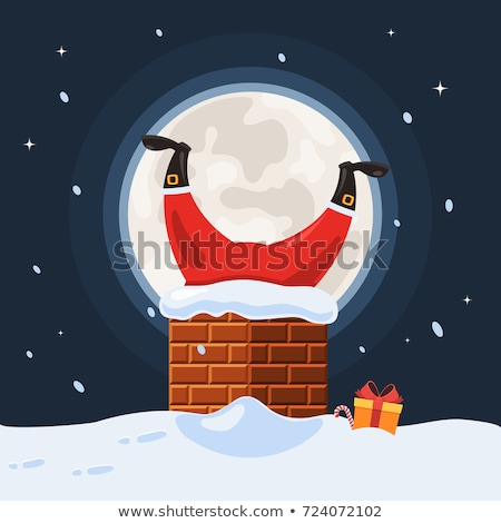 Merry Christmas, Santa Claus in Chimney at Night Stock photo © robuart