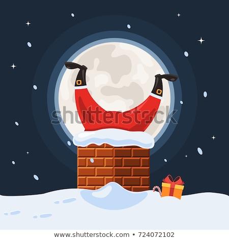 Alegre natal papai noel chaminé noite vetor Foto stock © robuart