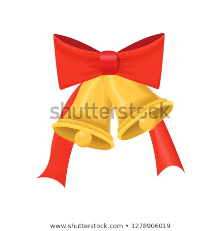 Gold Christmas Glossy Bell with Big Red Bow vector Stock photo © robuart