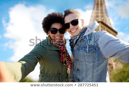 arkadaşlar · işaret · Eyfel · Kulesi · seyahat · turizm · yaz - stok fotoğraf © dolgachov