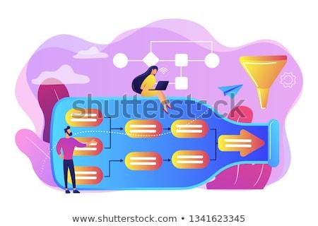 Analyse zakenlieden fles naar hoedanigheid Stockfoto © RAStudio