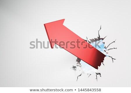 3d red arrow break through wall Stock photo © ribah