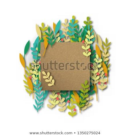Empty recycled papercut template with leaves Stock photo © cienpies
