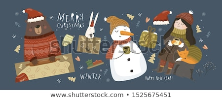 Merry Christmas Poster Santa Claus and Snow Maiden Stock photo © robuart