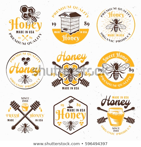 Stock photo: Color vintage honey emblem