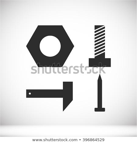 Vektör ayarlamak somun dizayn demir Stok fotoğraf © olllikeballoon