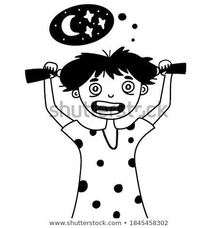 Children Having Insomnia Problem Cartoon Vector Characters Stok fotoğraf © pikepicture