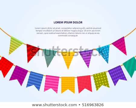 Party flags with Confetti And Ribbons. vector Stock photo © Andrei_