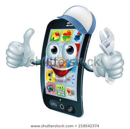 Mobile Phone Repair Spanner Thumbs Up Mascot Stock photo © Krisdog