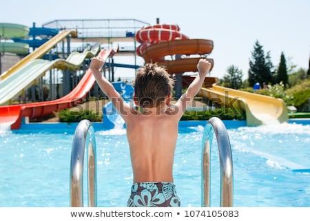 Waterglijbaan park illustratie boom kinderen maan Stockfoto © bluering