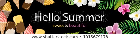 Hot Summer Sale Background Tropical Leaves Vanilla Stock photo © robuart