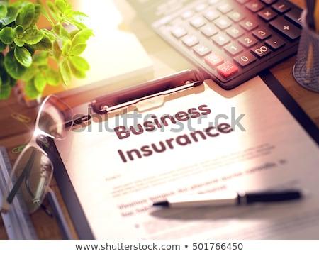 Insurance Policy Concept On Clipboard 3d Rendering Foto stock © Tashatuvango