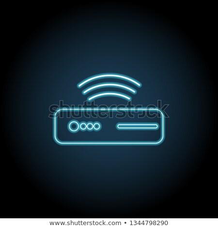 Ordinateur technologie néon icônes Electronics promotion Photo stock © Anna_leni