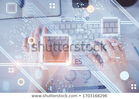 Businessman Robot Hands Brain Hologram HUD Network Stock photo © limbi007