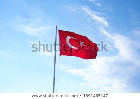 Türk bayrak rüzgâr mavi gökyüzü görmek Stok fotoğraf © boggy