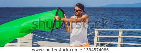 Homme air canapé bannière longtemps format Photo stock © galitskaya