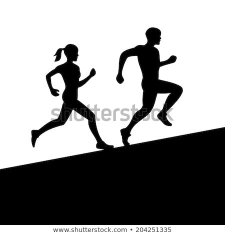 Pays marathon courir icône style rétro illustration Photo stock © patrimonio