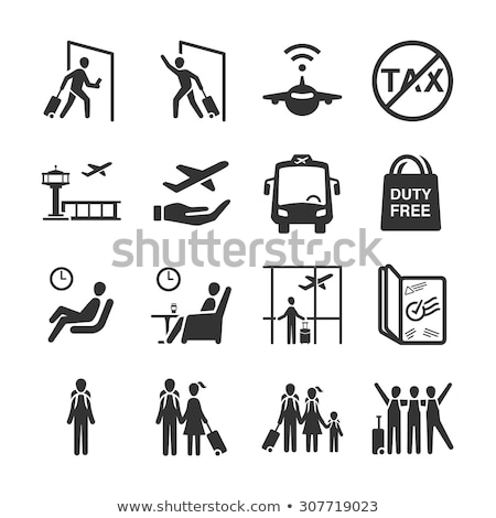 family with baggage in departure lounge vector stock photo © robuart