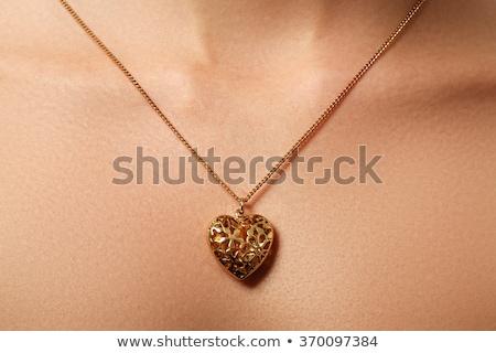 Szépség ékszerek nő visel fényes arany Stock fotó © serdechny