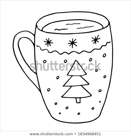 Kahve fincan dekore edilmiş Noel stil Stok fotoğraf © Lady-Luck