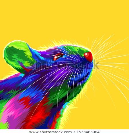 kínai · új · év · kék · vízfesték · patkány · kártya · üdvözlőlap - stock fotó © cienpies