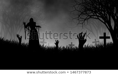 Halloween theme with zombie in graveyard Stock photo © bluering