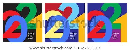 Vektör modern minimalist happy new year kart büyük Stok fotoğraf © orson