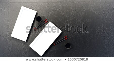 Eetstokjes lege sushi platen houten tafel zwarte Stockfoto © magraphics