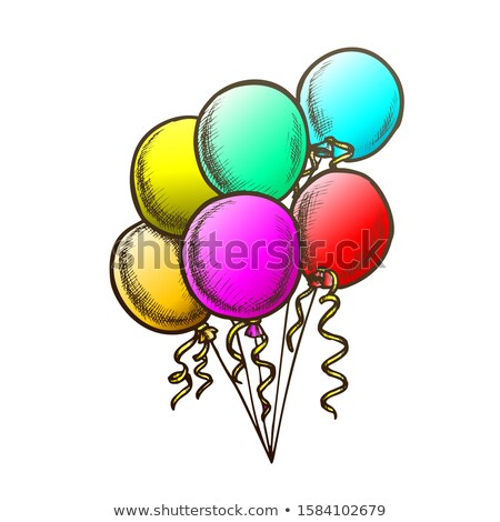 Balloons Bunch With Curly Ribbon Monochrome Vector Stock photo © pikepicture