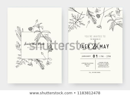 Hochzeitseinladung Karten grau Blumen Eiche Blätter Stock foto © ShustrikS
