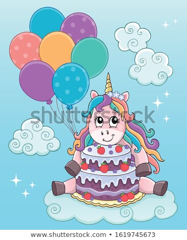 Unicorn with cake and balloons theme 2 Stock photo © clairev