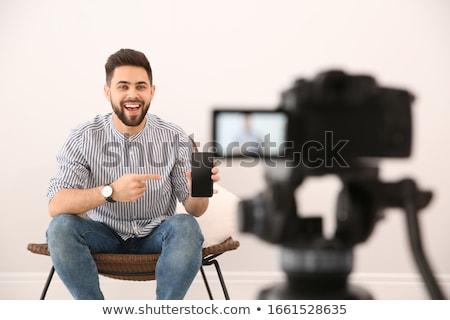 camera recording video blog of smartphone Stock photo © dolgachov