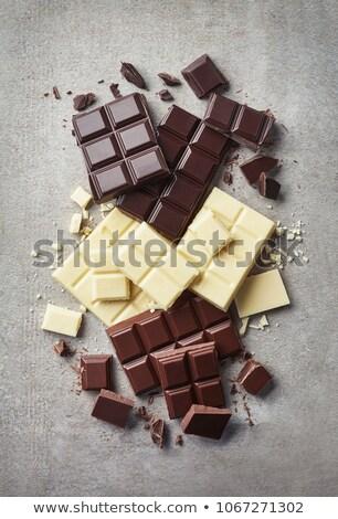 Kırık koyu çikolata gri bar parçalar Stok fotoğraf © marylooo