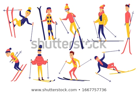 Vector set of skiers. Winter sportsman in different poses on ski resort. Men in the ski resort. Wint Stock photo © designer_things
