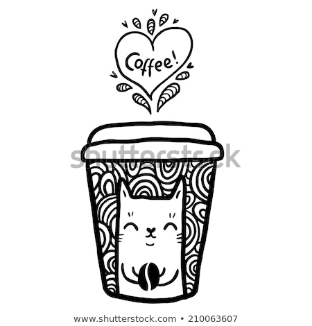 Black and white coffee cup vector. Swirl, curl style. stock photo © Hermione