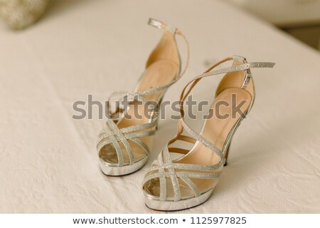 кожа женский сандалии стали кнопки белый Сток-фото © RuslanOmega